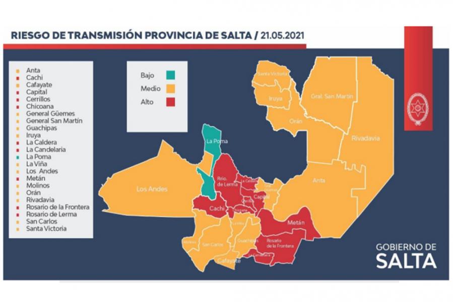 El Ministerio de Salud Pública actualizó datos epidemiológicos referidos a los niveles de transmisión de COVID-19 en cada departamento de Salta.