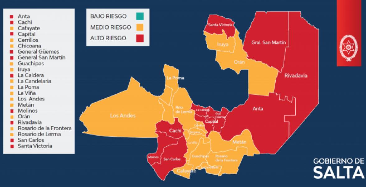 El Ministerio de Salud Pública actualizó datos epidemiológicos referidos a los niveles de transmisión de COVID-19 en cada departamento de la Provincia.