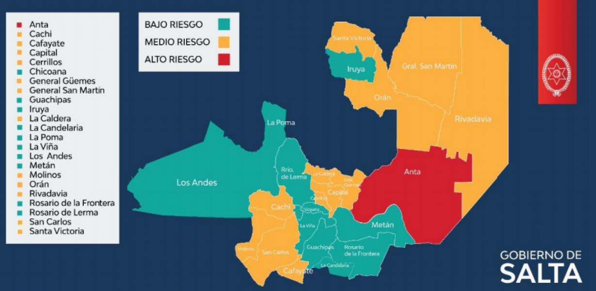 El Ministerio de Salud Pública actualizó datos epidemiológicos referidos a los niveles de transmisión de coronavirus en los 23 departamentos de Salta.