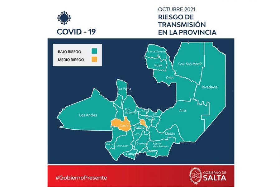 De los 23 departamentos en que se divide el territorio provincial, 21 están considerados de bajo riesgo y sólo 2 de mediano riesgo. En la actualidad no hay zonas de alto riesgo epidemiológico
