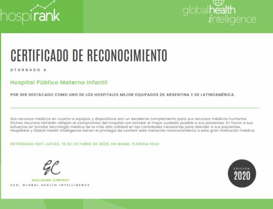 Reconocen al Materno Infantil como uno de los hospitales mejor equipados de Latinoamérica